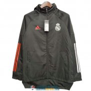 Real Madrid Chaqueta Rompevientos Black White Red 2020/2021