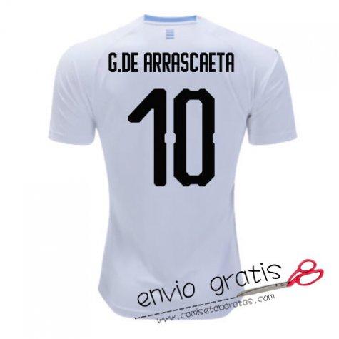 Camiseta Uruguay Segunda Equipacion 10#G.DE ARRASCAETA 2018 - camisetabaratas.com